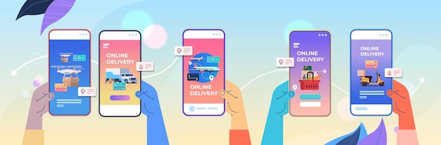 인간의 손에 상품을 주문하기 위해 모바일 앱을 사용하는 빠른 배달 서비스 온라인 쇼핑 전자 상거래 개념 수평 벡터 일러스트 레이션