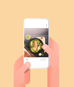 Human hands using online mobile app fresh salad prepared dish for blog on smartphone screen food blogging social media network concept food hunter review vertical