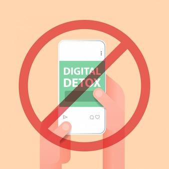 스마트 폰 디지털 해독 개념을 사용하여 인간의 손에 인터넷과 소셜 네트워크를 포기