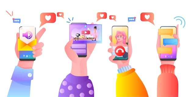 스마트 폰 소셜 미디어 네트워크 온라인 커뮤니케이션 개념 가로 그림을 사용하여 인간의 손