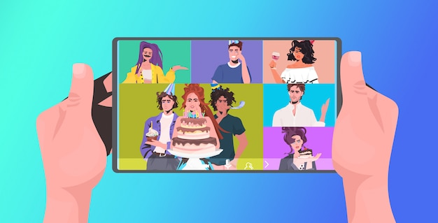 Human hands using tablet pc mix race friends celebrating online party having virtual fun celebration concept. people discussing during video call horizontal portrait illustration