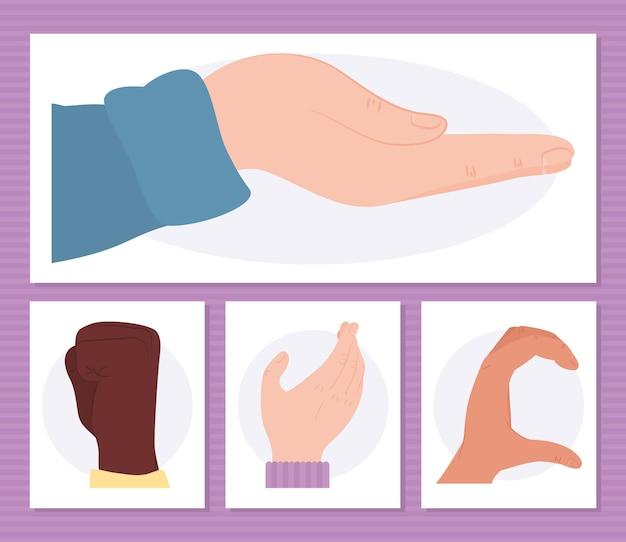 Human hands with gestures set