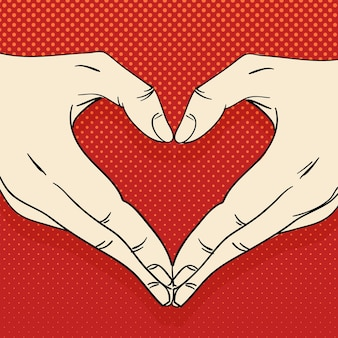 심장 기호로 인간의 손입니다. 사랑 개념