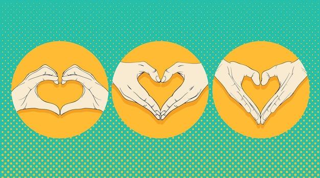 심장 기호 세트와 인간의 손