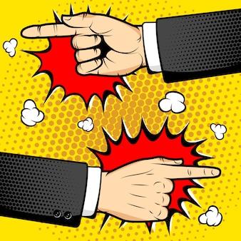 팝 아트 스타일에서 손가락을 가리키는와 인간의 손에. 삽화. 팝 아트 스타일 일러스트 벡터 요소입니다.