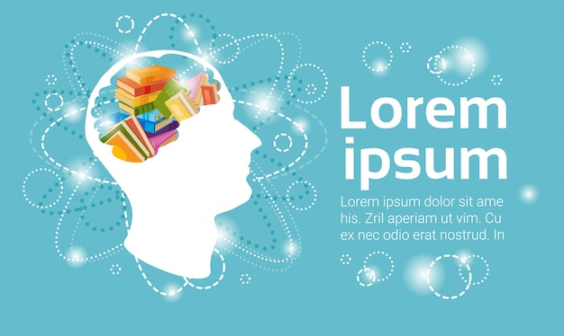 Human head books stack school education concept