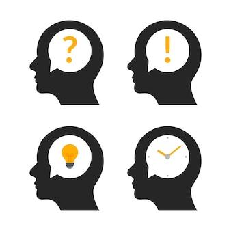 인간의 머리 두뇌 아이디어 프로필입니다. 사람 비즈니스 질문 사람들이 창의적인 그림 아이콘을 마음.