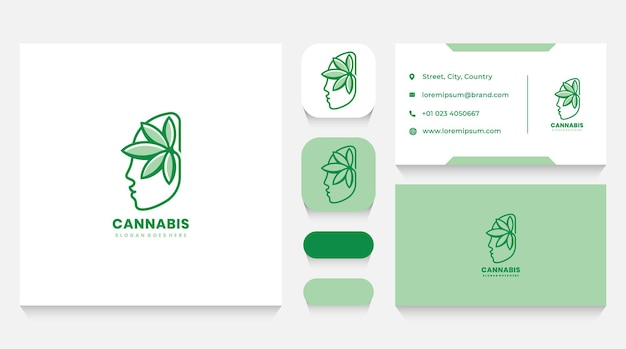 Human head and cannabis logo template and business card