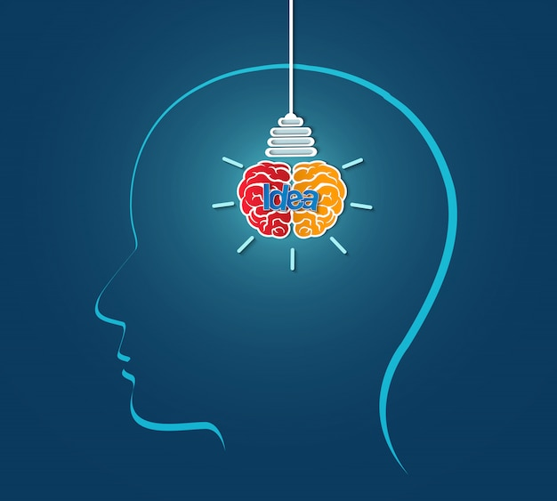Человеческая голова творческая идея мозг значок лампочка, искра успеха в бизнесе