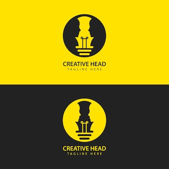 Human head light bulb logo vector smart idea icon face to face vector