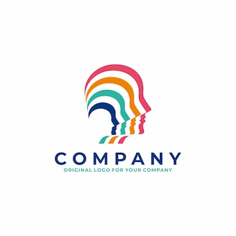 Логотип человеческой головы в красочном полосатом стиле