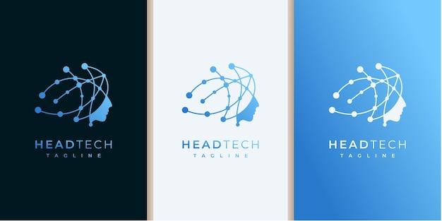 인간의 머리 마음과 기술 로고 디자인