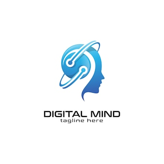 Human head mind and technology logo