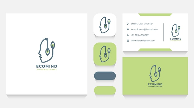 Human head and nature logo template and business card