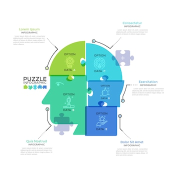 Human head or profile divided into 5 colorful translucent jigsaw puzzle pieces. concept of five features of business thinking. modern infographic design template. creative vector illustration.