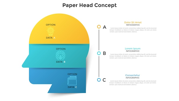 Human head or profile divided into 6 colorful paper pieces. concept of six features of creative business thinking. modern infographic design template. vector illustration for data visualization.