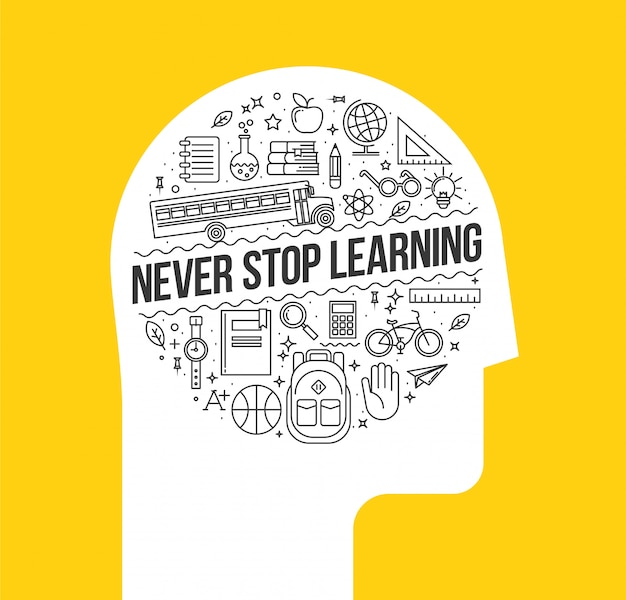Human head silhouette with set of learning thin line icons inside with never stop learning inside.