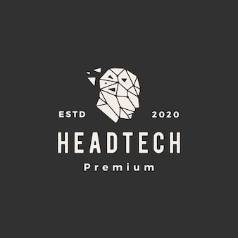 Human head tech geometric hipster vintage logo  icon illustration