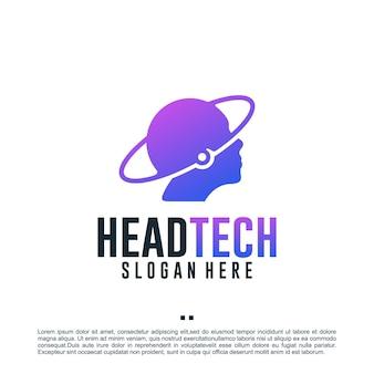 人間の頭、技術、ロゴデザインテンプレート