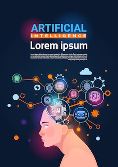 Human head with cyber brain cog wheel and gears concept of artificial intelligence vertical banner