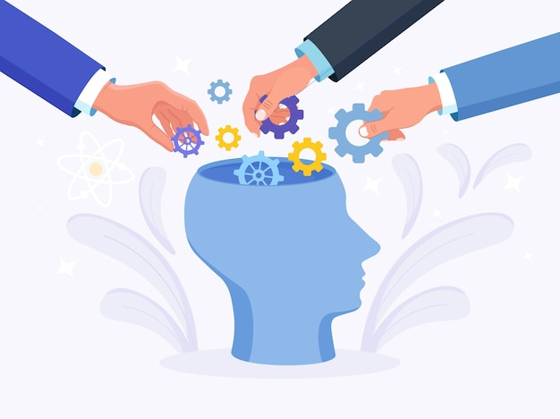 Human head with gear wheels inside. people put cogwheel in it. productivity, effectiveness. intelligence and knowledge development with brain performance. gears and technical wheels as thoughts