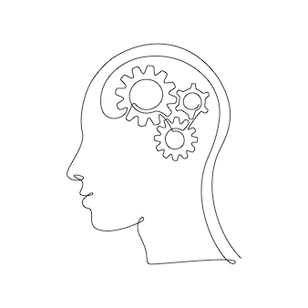 Human head with gears inside in continuous one line drawing. concept of creative brain process and technology progress. cogwheels in human body in thin linear style. doodle vector illustration.