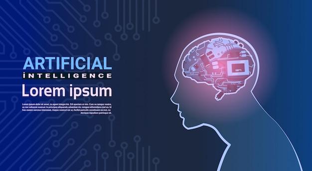 回路のマザーボードの背景上の現代サイボーグ脳機構を持つ人間の頭