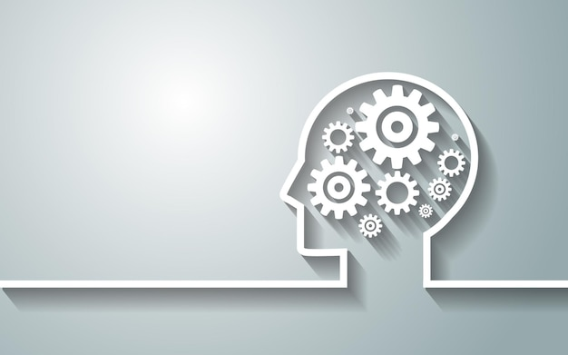 Human head with a set of gears as a symbol work of brain background for your design