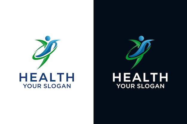人間の健康管理のロゴ、人間のジャンプのロゴデザイン