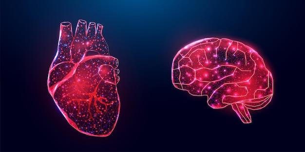 人間の心臓と脳。ワイヤーフレーム低ポリスタイル。紺色の背景に抽象的なモダンな3dベクトルイラスト。