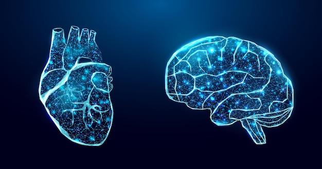 인간의 마음과 뇌. 와이어프레임 로우 폴리 스타일.
