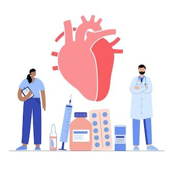 心臓病クリニックの人間の心臓のロゴ。カーディオとヘルスケアの概念。循環器疾患