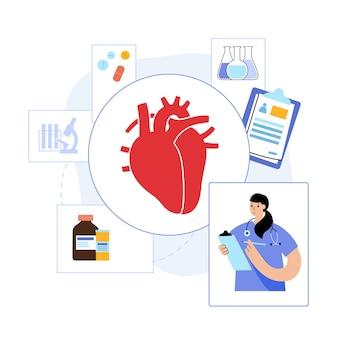 心臓病クリニックの人間の心臓のロゴ。心臓専門医の予約、治療、患者の助け。