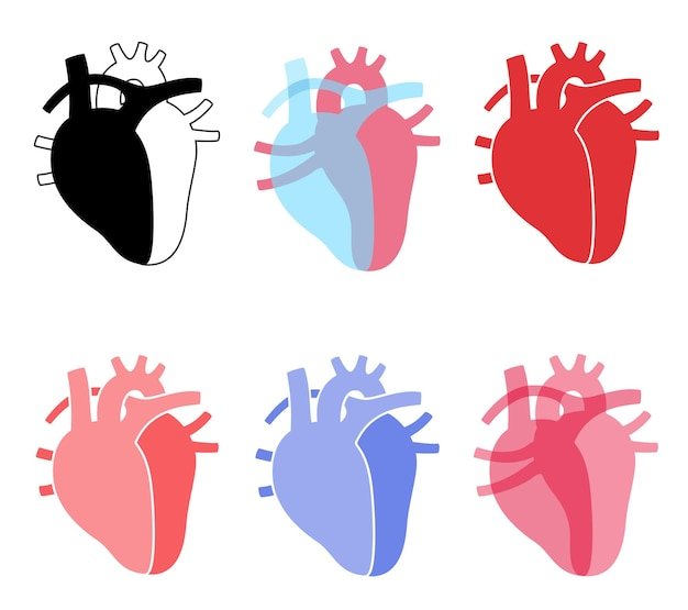 Human heart logo set for cardiology clinic. cardio and healthcare concept. cardiovascular disease
