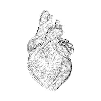 검은 점과 입자로 구성된 인간의 심장 실루엣. 곡물 질감이 있는 내부 장기의 3d 벡터 와이어프레임. 흰색 배경에 고립 된 점선 구조로 추상적인 기하학적 아이콘 프리미엄 벡터