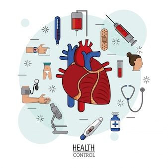Human heart system in closeup and icons around