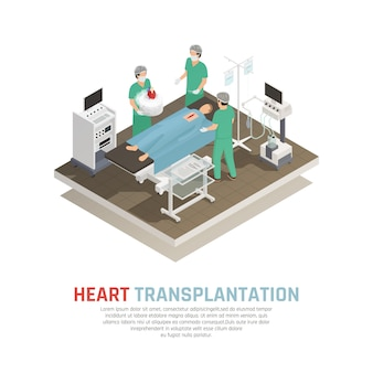 Human heart transplantation isometric composition