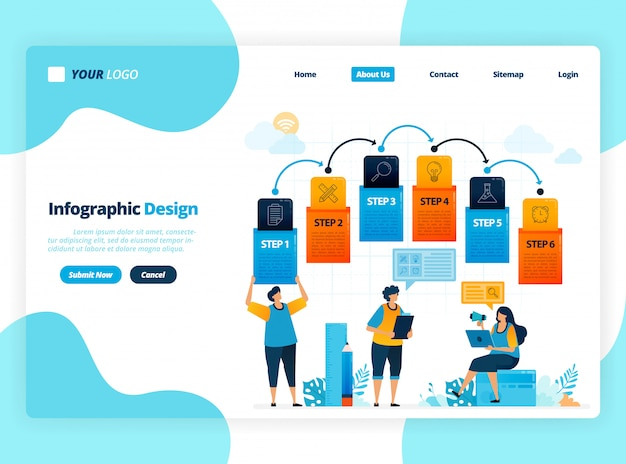 Human illustration and infographic design for business options, steps in learning, education processes. flat  for landing page, web, website, banner, mobile apps, flyer, poster, brochure