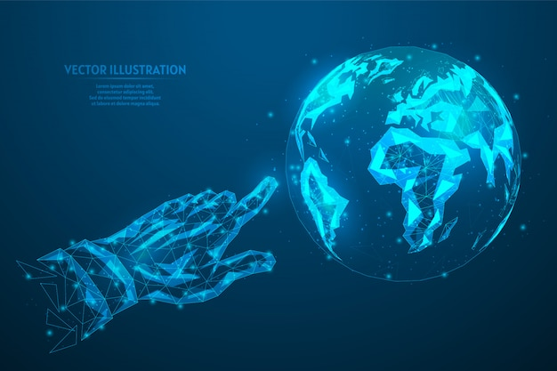 Human index finger shows clicks on planet earth. concept global internet connection, network, data transfer, ecology, business. innovative technology. 3d low poly wireframe model illustration.