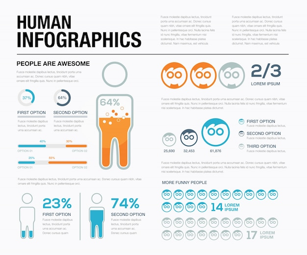 Human infographics vector. show off what people have been doing!