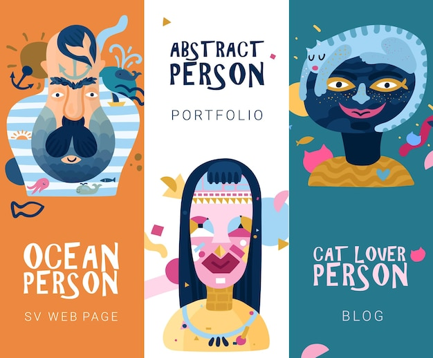 Human inner world 3 vertical abstract banners with cat lover and ocean type persons isolated