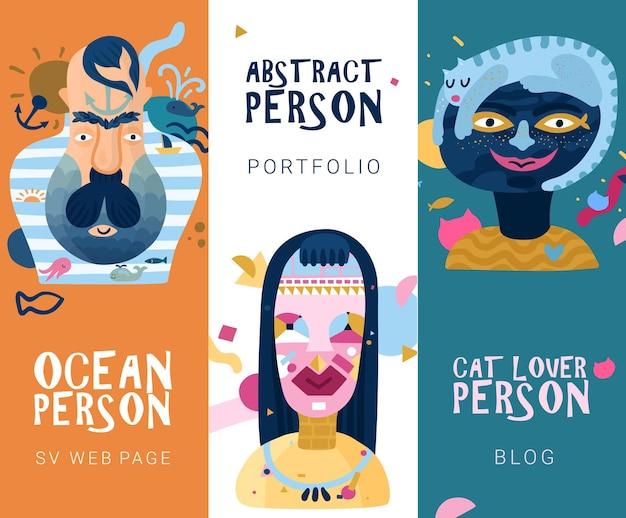 Mondo interno umano 3 bandiere astratte verticali con amante dei gatti e persone di tipo oceano isolate
