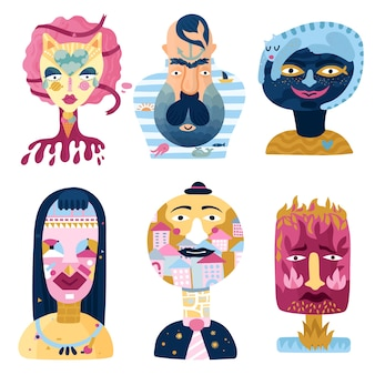 Human inner world set of psychological imaginary portraits including sweet woman