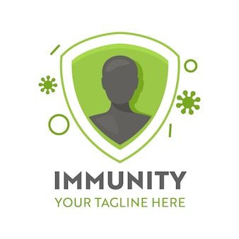 Human inside of immunity shiled and virus cells attack healthcare logo or icon. health care defence, healthy body
