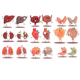 Внутренние органы человека здоровые против нездоровых набор медицинских анатомических забавных пар мультипликационных персонажей части организма сравнение счастливы против больных и поврежденных