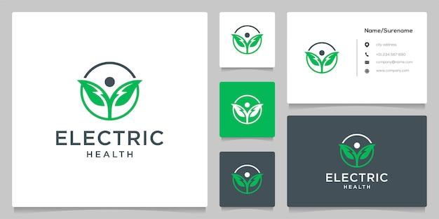 人間の葉のエネルギーのロゴデザインシンプルなイラスト