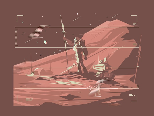 Human life on surface of planet mars. martian life.  illustration