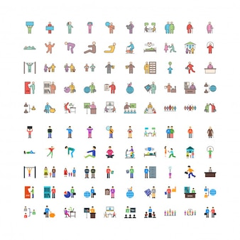 Human linefilled and flat 100 icons set