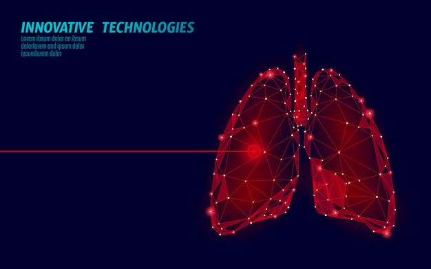 Human lungs laser surgery operation low poly. medicine disease drug treatment painful area. red triangles polygonal 3d render shape. pharmacy tuberculosis cancer template illustration