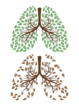 Human lungs with foliage concept